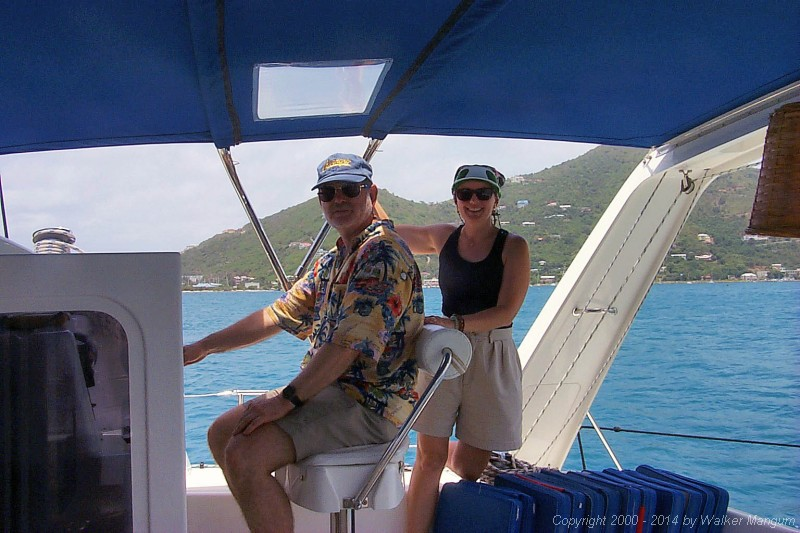 Leaving Roadtown Harbor - Captain Frank and First Mate Sara.