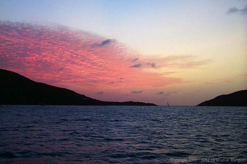 Sunset in Gorda Sound, looking though the Anguilla Point passage.