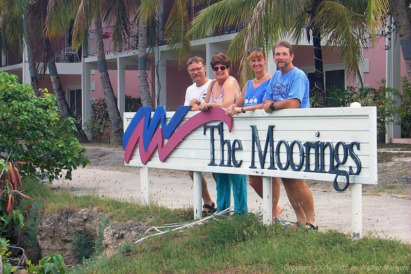 Mike, Sandy, Nancy and Walker just after arrival at the Moorings.