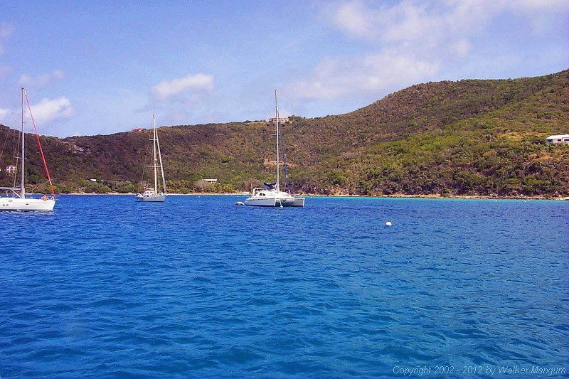 Panorama of Marina Cay, as seen from our mooring.