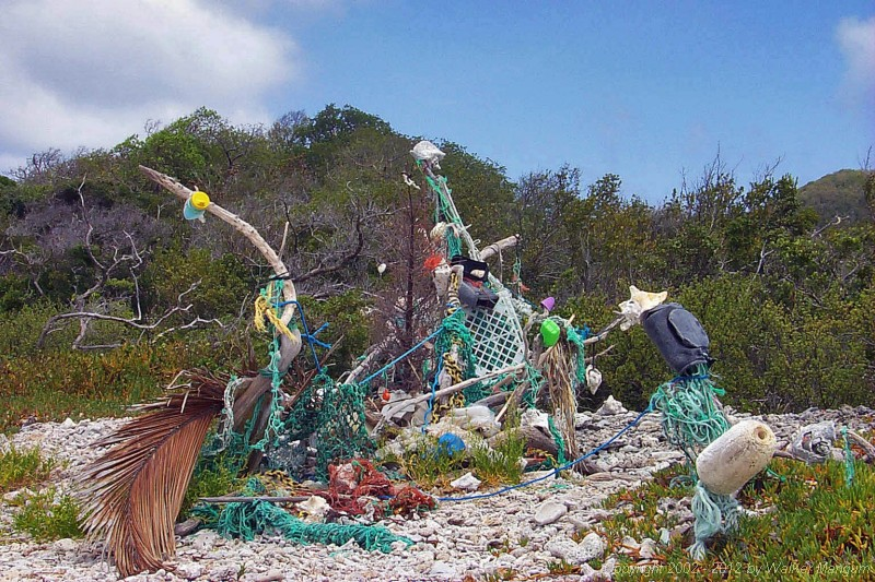 Beach trash sculpture just east of Sprat Point on Beef Island. These impromptu collaborative works of