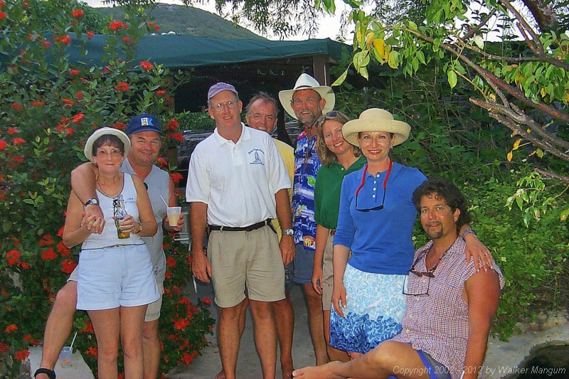 Part of the TravelTalk Online crew at the TTOL get-together at the Top of the Hill bar on Marina Cay.