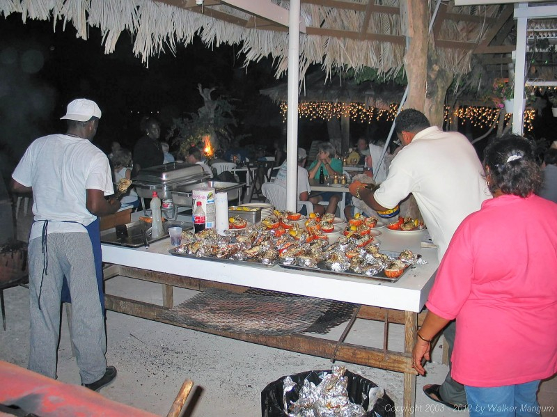 Dinner preparation at the Anegada Reef Hotel