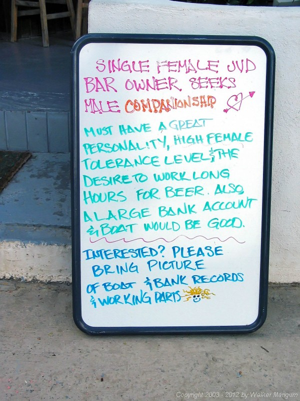 Sign outside Rudy's Grocery, Great Harbor, Jost Van Dyke