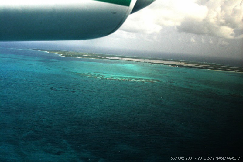 Approaching Anegada via Clair Aero. Prawny Shoal in the center. West End at upper left, followed by Pomato Point and Setting Point.
