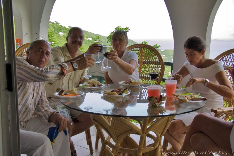 Barbecue time at Chef Andy Niedenthal's house: Davide, Mike Morphew, Kay Schwartz, Cele. Andy is the executive chef at Peter Island Resort.