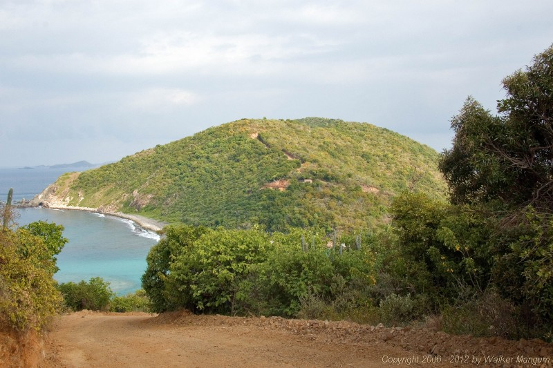 Driving over Scrub Island to Wali Nikiti construction site - visible in the center of the far hill.