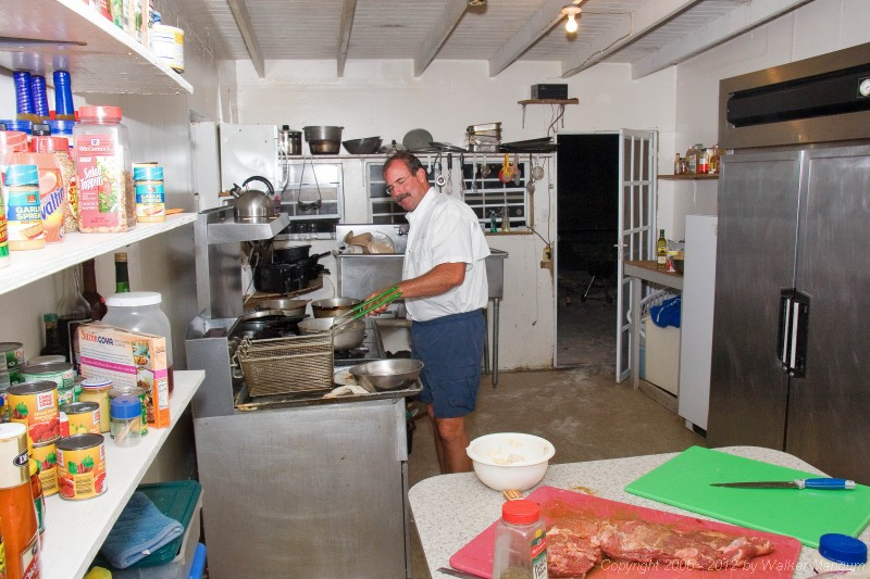 Carlos in the Cow Wreck kitchen. Carlos, his wife Tita, and their two daughters are from Puerto Rico and are frequent visitors at Cow Wreck. Carlos brought over a beautiful angus tenderloin (visible on prep table) that he cooked and shared with the Cow Wreck gang (us included). Thanks again, Carlos - and see you soon, amigo.