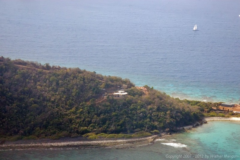 Flying past the Wali Nikiti construction site on Scrub Island on the way to Anegada with Davide and Cele.