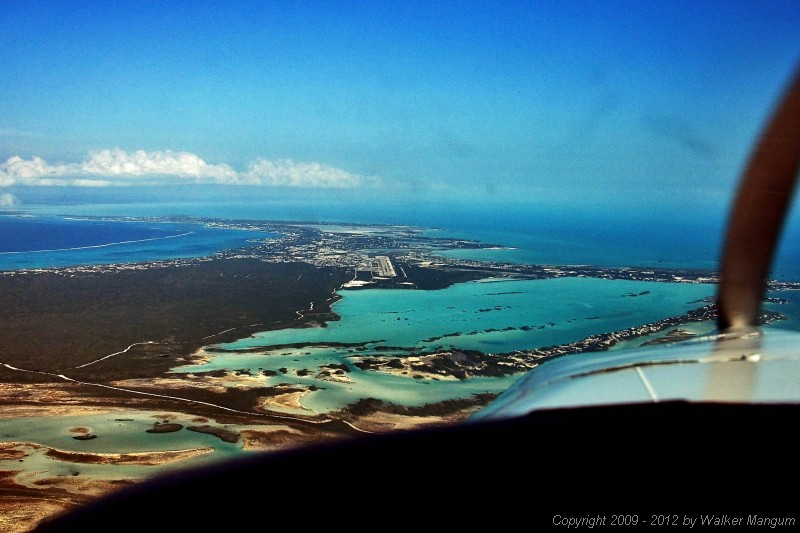 On final for runway 10 at Providenciales (MBPV). We are spending the night on Provo.