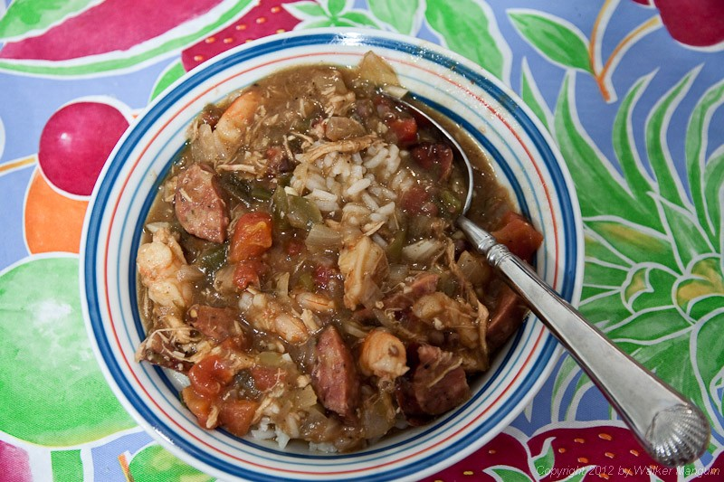 Gumbo - Cajun style! Chicken, shrimp, and sausage with a pork roux.