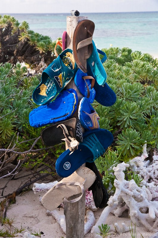 The flip flop totem — at Anegada, BVI.