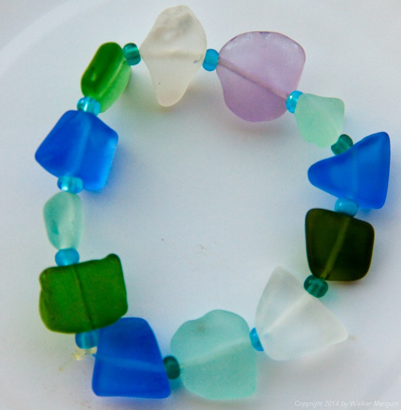 Nancy's latest beach glass bracelet. The lavender piece at the top is very rare.