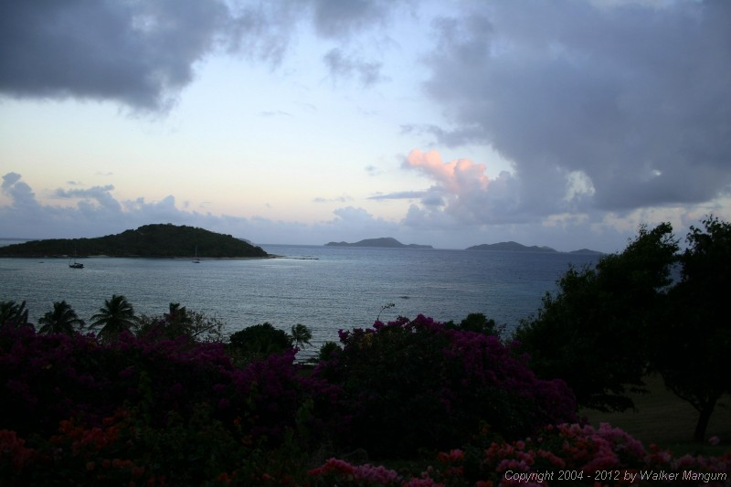 View from the Pugliese's, Tortola. Buck Island on left, Cooper Island and Salt Island in the distance.